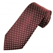 Burgundy & Silver White Polka Dot Men's Tie