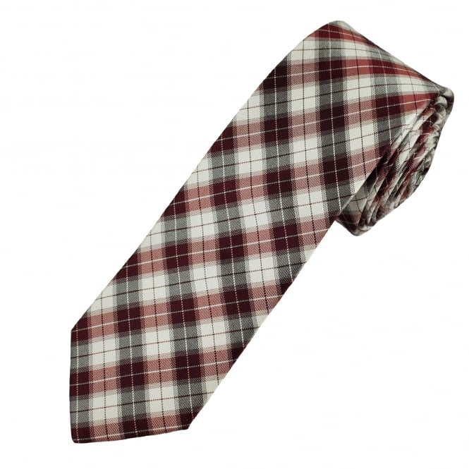 Burgundy, White & Black Checked Men's Narrow Silk Tie