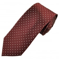 Burgundy & White Polka Dot Men's Luxury Silk Tie