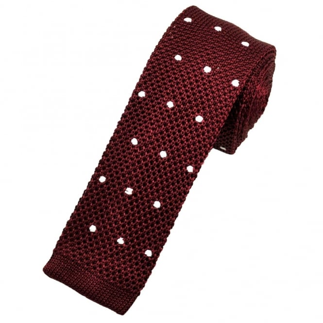 burgundy white polka dot silk knitted tie from ties