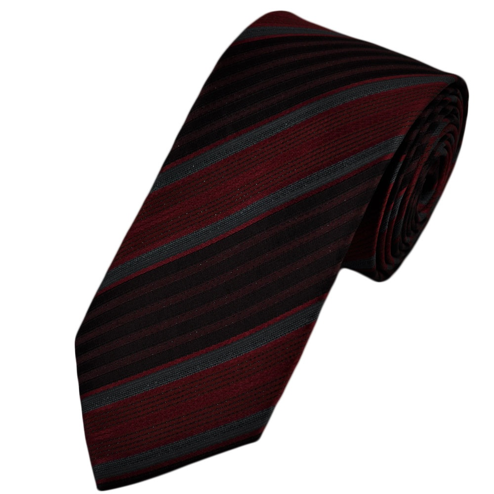 burgundy wine grey striped silk narrow tie from