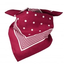 Burgundy With White Stripes & Polka Dot Bandana Neckerchief