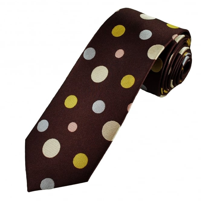 Burgundy, Yellow, Silver & Beige Circles Patterned Men's Luxury Silk Tie