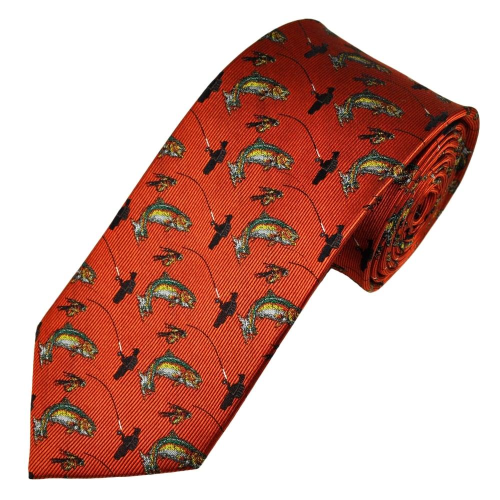 burnt orange fly fishing luxury silk country tie from ties
