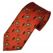 Burnt Orange Fly Fishing Luxury Silk Country Tie