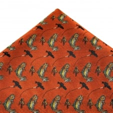 Burnt Orange Fly Fishing Luxury Silk Pocket Square Handkerchief