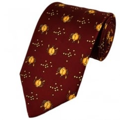 Cancer Horoscope Star Sign Red Silk Novelty Tie