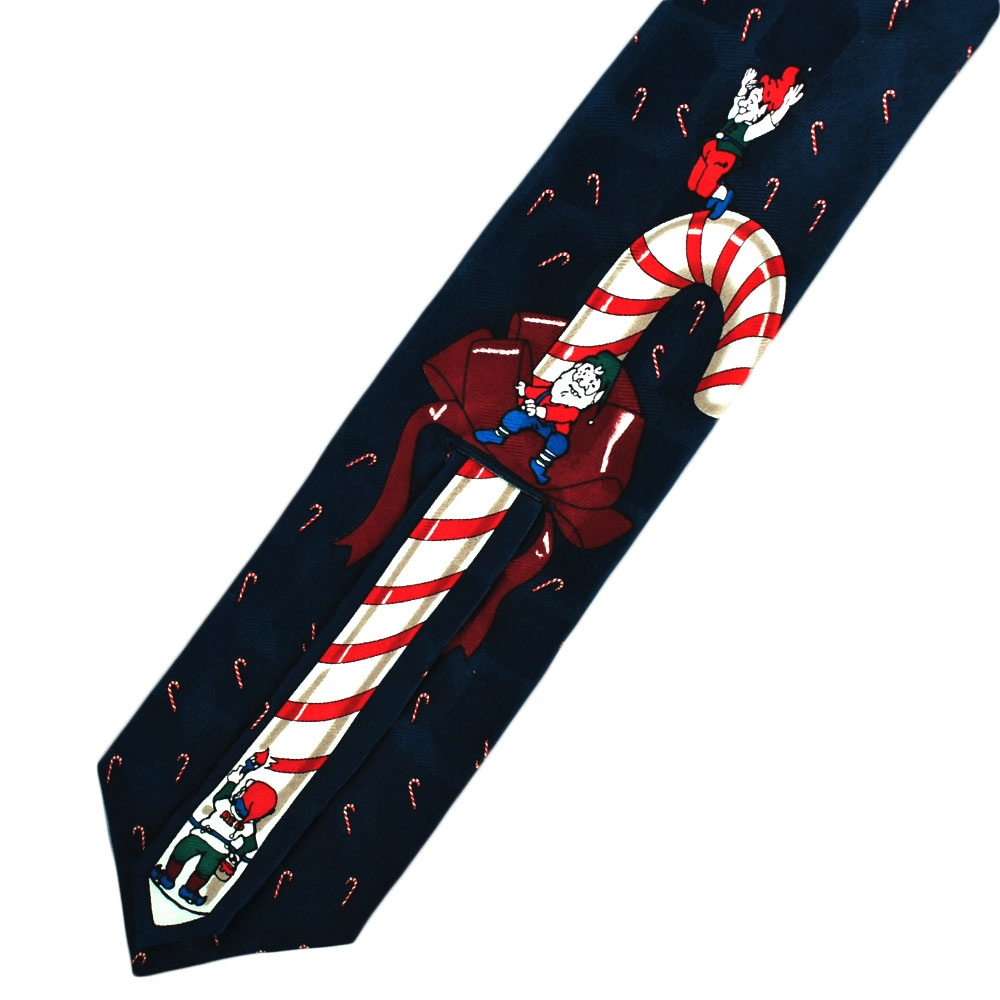 Candy Cane & Elves Novelty Silk Christmas Tie from Ties ...