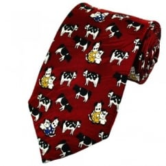 Cartoon Cows Red Novelty Silk Tie
