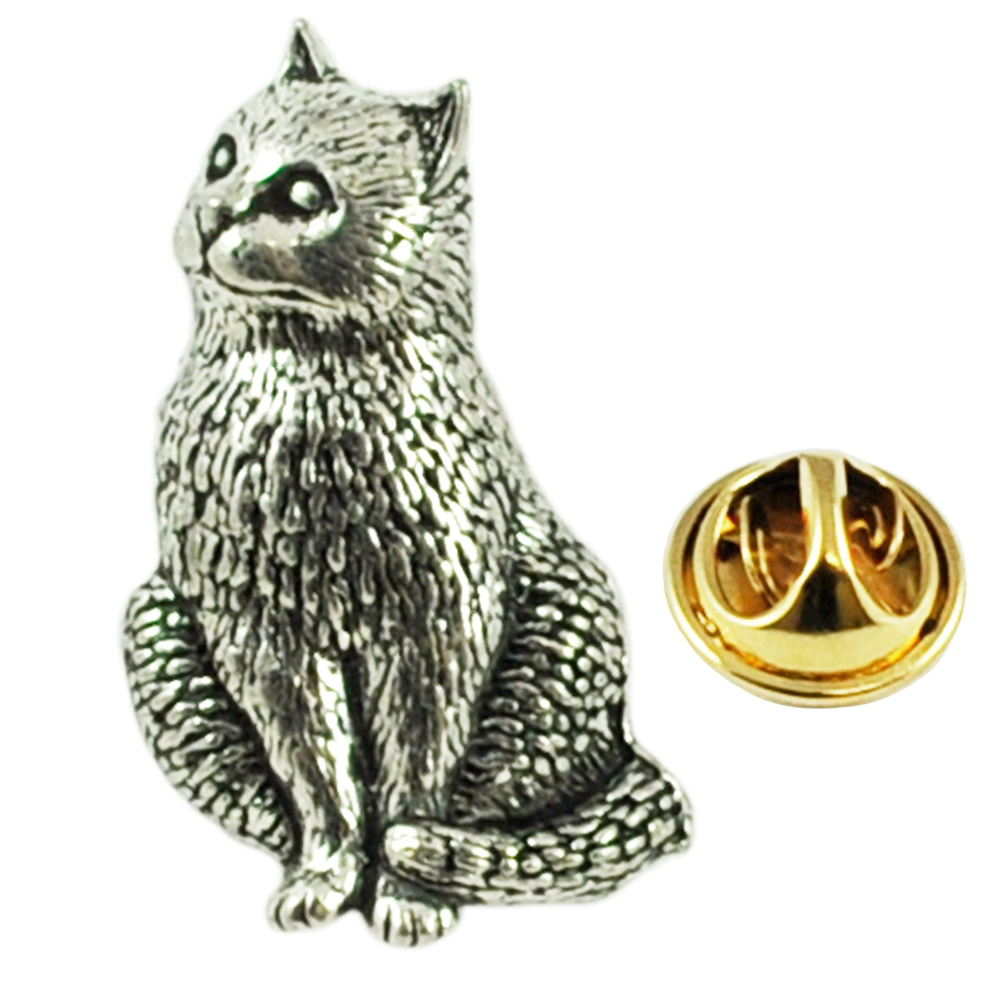 Silver Standing Cat Pewter Lapel Pin Badge Handmade In England Badges Cats New