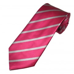 Cerise & Silver Grey Striped Men's Silk Tie