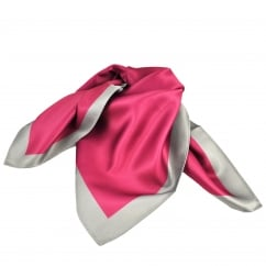 Cerise with Silver Grey Border Bandana Neckerchief