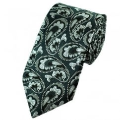 Charcoal, Black & Silver Grey Paisley Patterned Tie