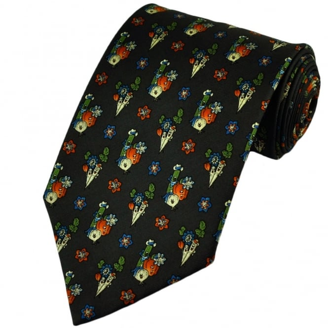 Charcoal Grey Funny Vegetables Silk Novelty Tie