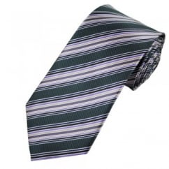 Charcoal Grey, Shades of Purple, Black & Gold Striped Tie