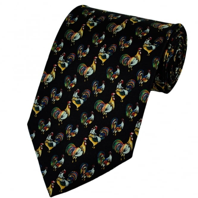 Chickens Black Silk Novelty Tie