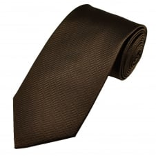 Chocolate Brown Double Ribbed Patterned Men's Silk Tie