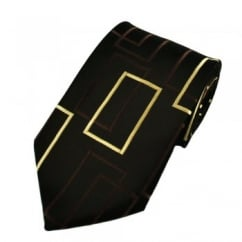 Chocolate Brown & Gold Patterned Boys Tie