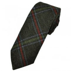 Chocolate Brown Large Checked Patterned Wool Tweed Tie