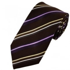 Chocolate Brown, Purple, Beige, White & Silver Striped Silk Tie