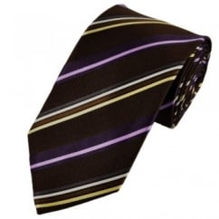 Chocolate Brown, Purple, Silver, White & Beige Striped Silk Tie