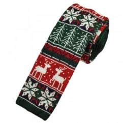 Christmas Fair Isle Knitted Silk Tie