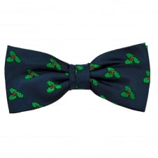 Christmas Holly Navy Blue Luxury Silk Men's Bow Tie