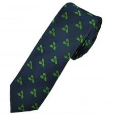 Christmas Holly Navy Blue Luxury Silk Men's Skinny Tie