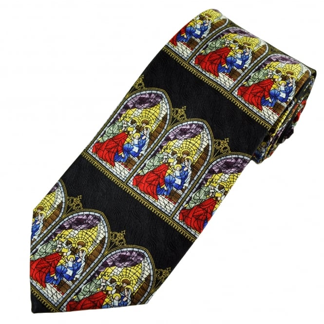 Christmas Nativity Scene Stained Glass Window Christian Silk Tie