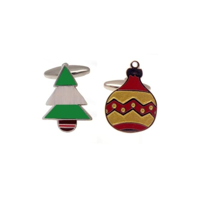 Christmas Tree & Bauble Christmas Cufflinks