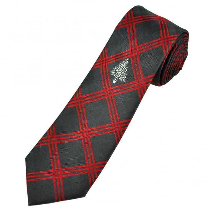 Christmas Tree Black & Red Check Men's Novelty Tie