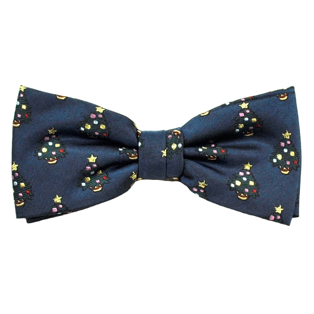 Christmas Tree Navy Blue Luxury Silk Men's Bow Tie