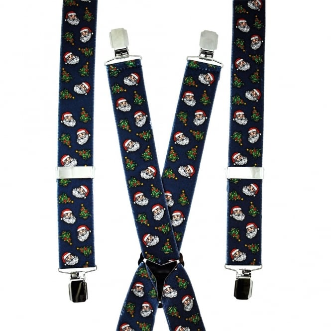 Christmas Tree & Santa Claus Trouser Braces - Navy Blue