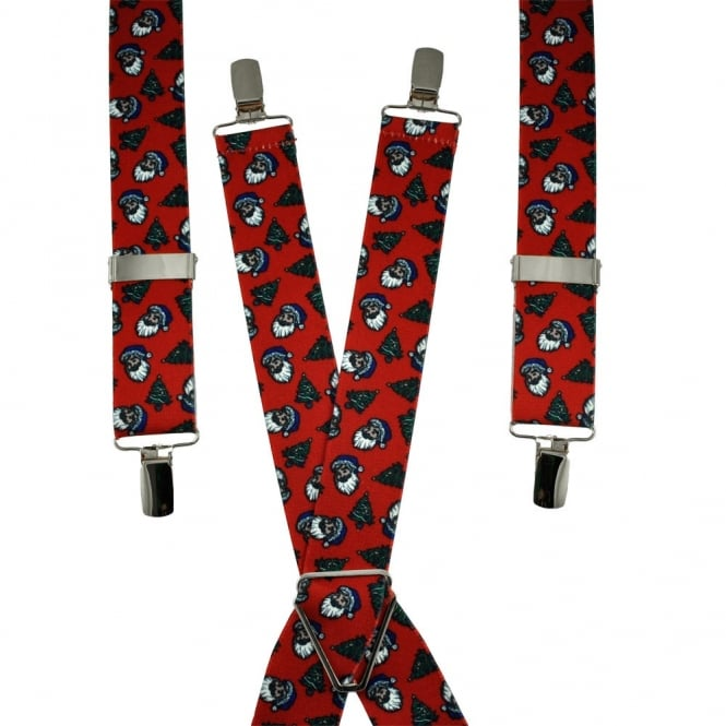 Christmas Tree & Santa Claus Trouser Braces - Red