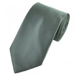 Chrome Grey Horizontal Rib Shadow Striped Tie