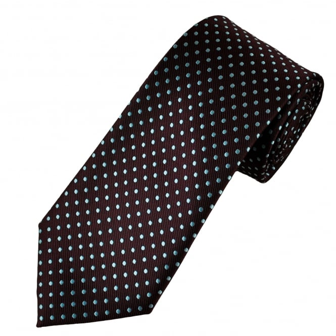 Claret & Blue Polka Dot Men's Tie