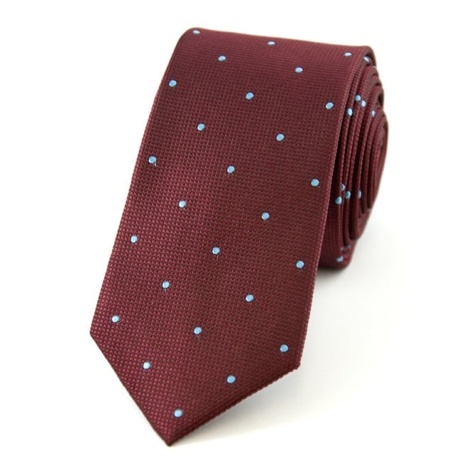 c9c7564f9e45 Claret & Blue Polka Dot Silk Skinny Tie from Ties Planet UK