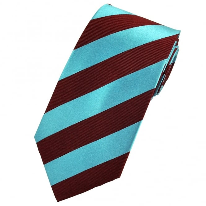 Claret & Blue Striped Silk Tie