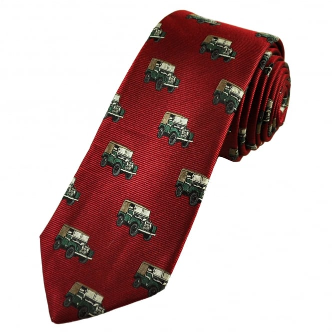 Classic Landrover 4x4 Car Wine Red Silk Men's Novelty Tie