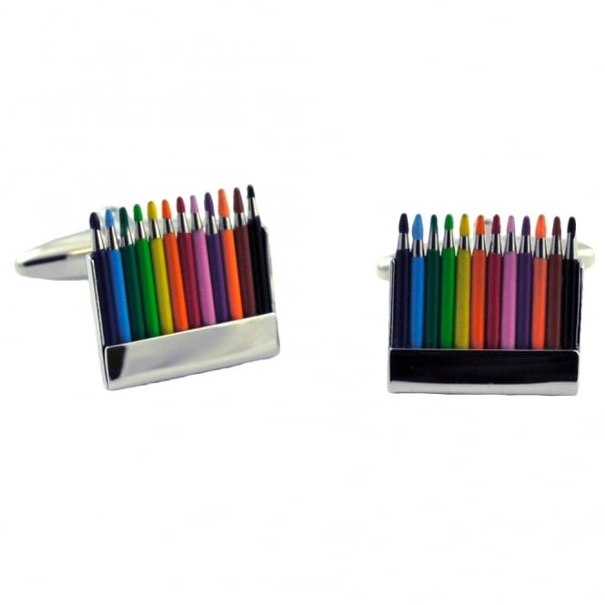 Coloured Pencil Crayons Novelty Cufflinks