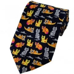 Colourful Cats Silk Novelty Tie