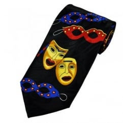 Colourful Comedy & Tragedy Carnival Drama Masks Novelty Tie