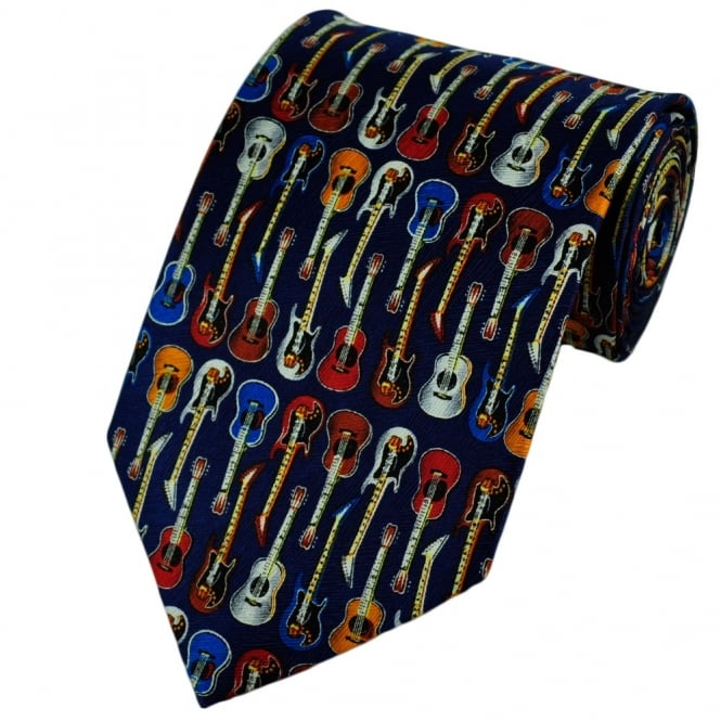 Colourful Guitars Novelty Silk Tie