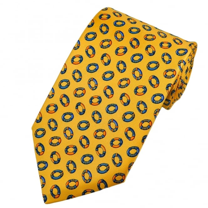 Colourful Life Buoys, Rubber Rings Yellow Silk Novelty Tie