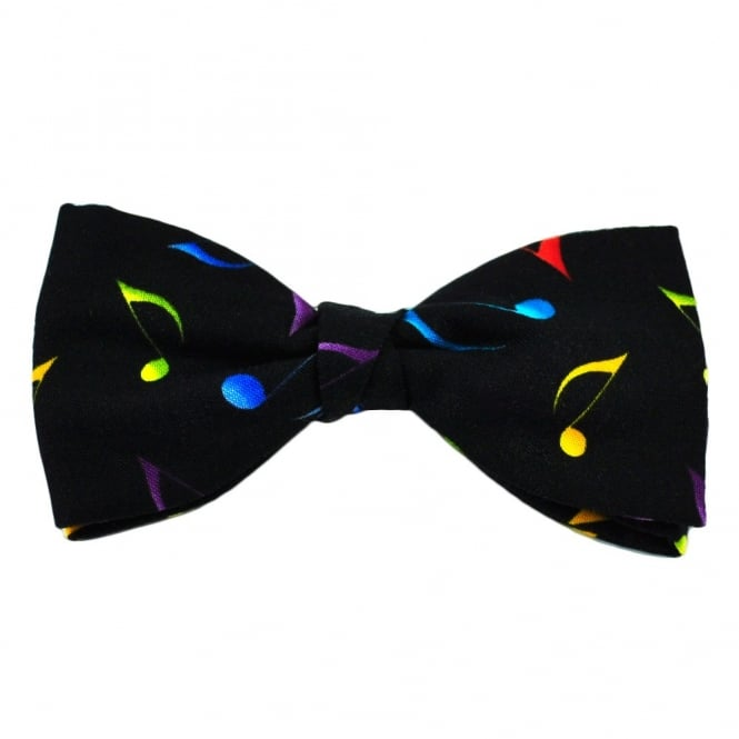 Colourful Music Notes on Black Novelty Bow Tie