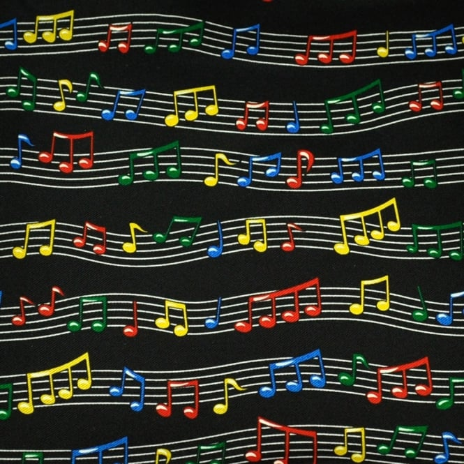 Colourful Music Notes Silk Novelty Pocket Square Handkerchief