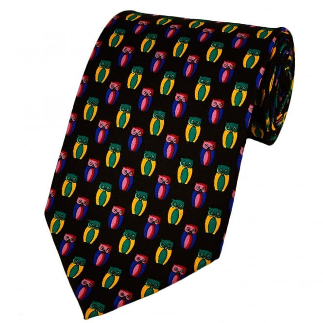 Colourful Owls Silk Novelty Tie