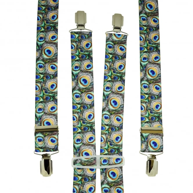 Colourful Peacock Feathers Patterned Men's Trouser Braces