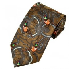 Colourful Pheasants Silk Novelty Tie