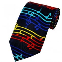 Colourful Red, Yellow & Blue Music Notes Novelty Tie